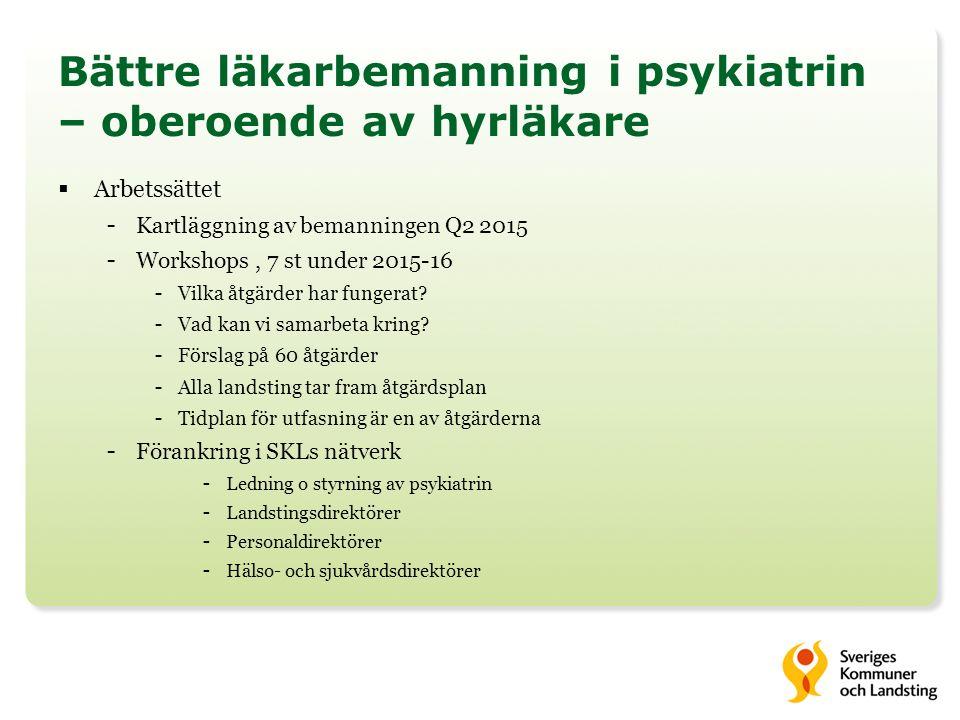 Bättre läkarbemanning i psykiatrin – oberoende av hyrläkare  Arbetssättet - Kartläggning av bemanningen Q2 2015 - Workshops, 7 st under 2015-16 - Vilka åtgärder har fungerat.