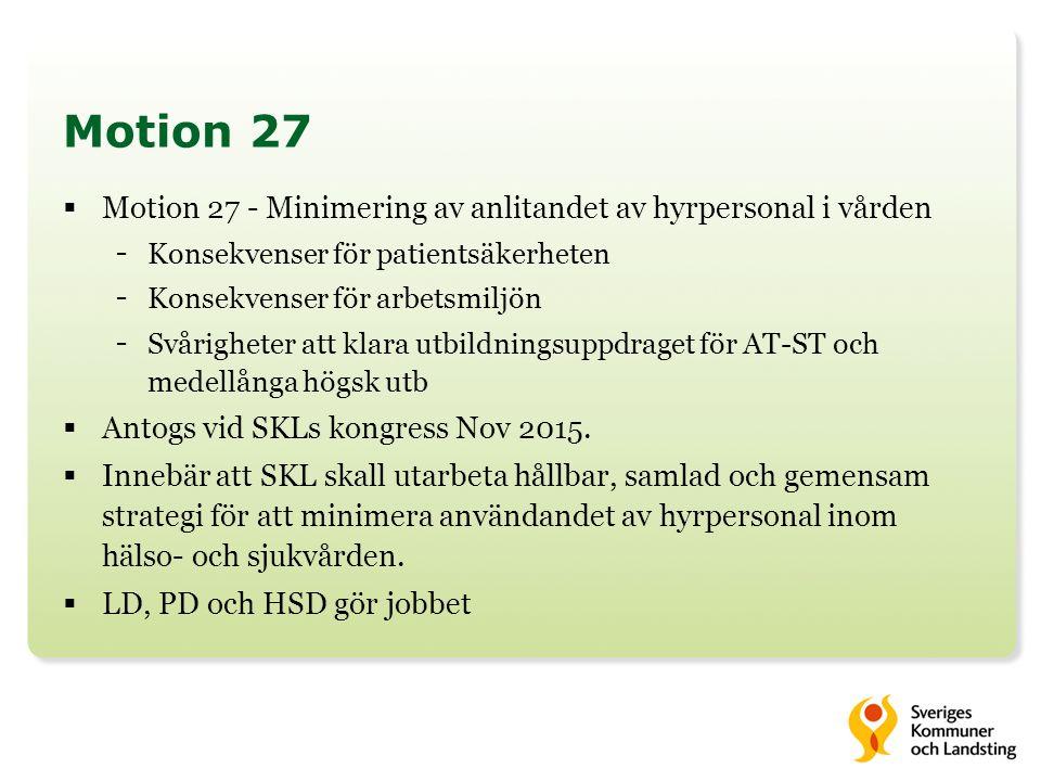 Motion 27  Motion 27 - Minimering av anlitandet av hyrpersonal i vården - Konsekvenser för patientsäkerheten - Konsekvenser för arbetsmiljön - Svårigheter att klara utbildningsuppdraget för AT-ST och medellånga högsk utb  Antogs vid SKLs kongress Nov 2015.