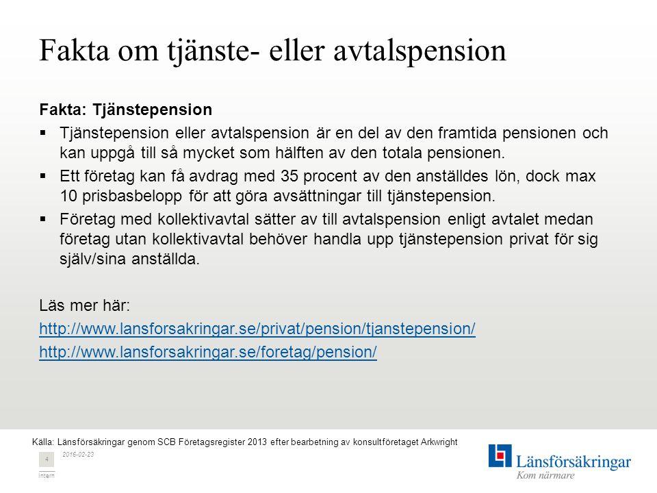 Intern Fakta om tjänste- eller avtalspension Fakta: Tjänstepension  Tjänstepension eller avtalspension är en del av den framtida pensionen och kan up