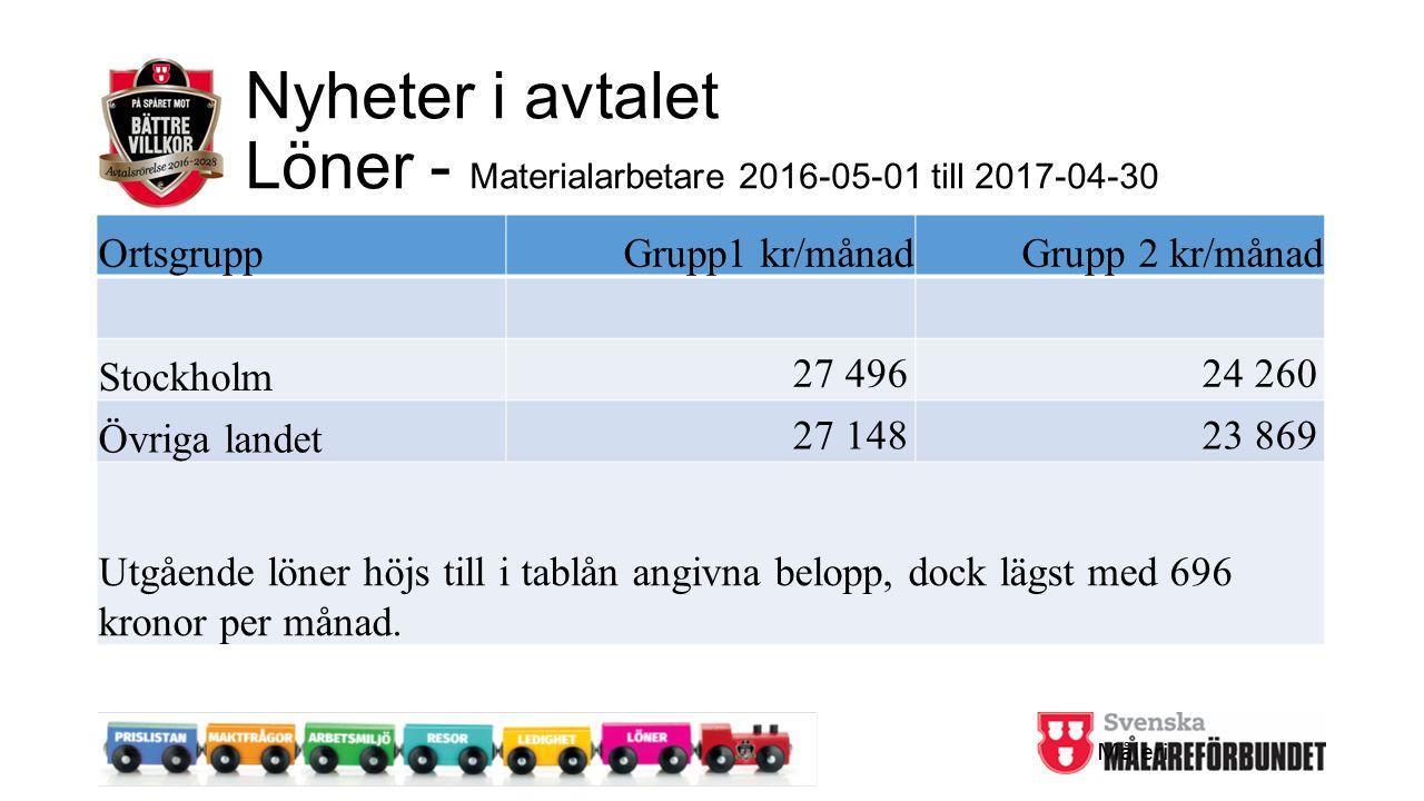 Nyheter i avtalet Löner - Materialarbetare 2016-05-01 till 2017-04-30 OrtsgruppGrupp1 kr/månadGrupp 2 kr/månad Stockholm 27 49624 260 Övriga landet 27