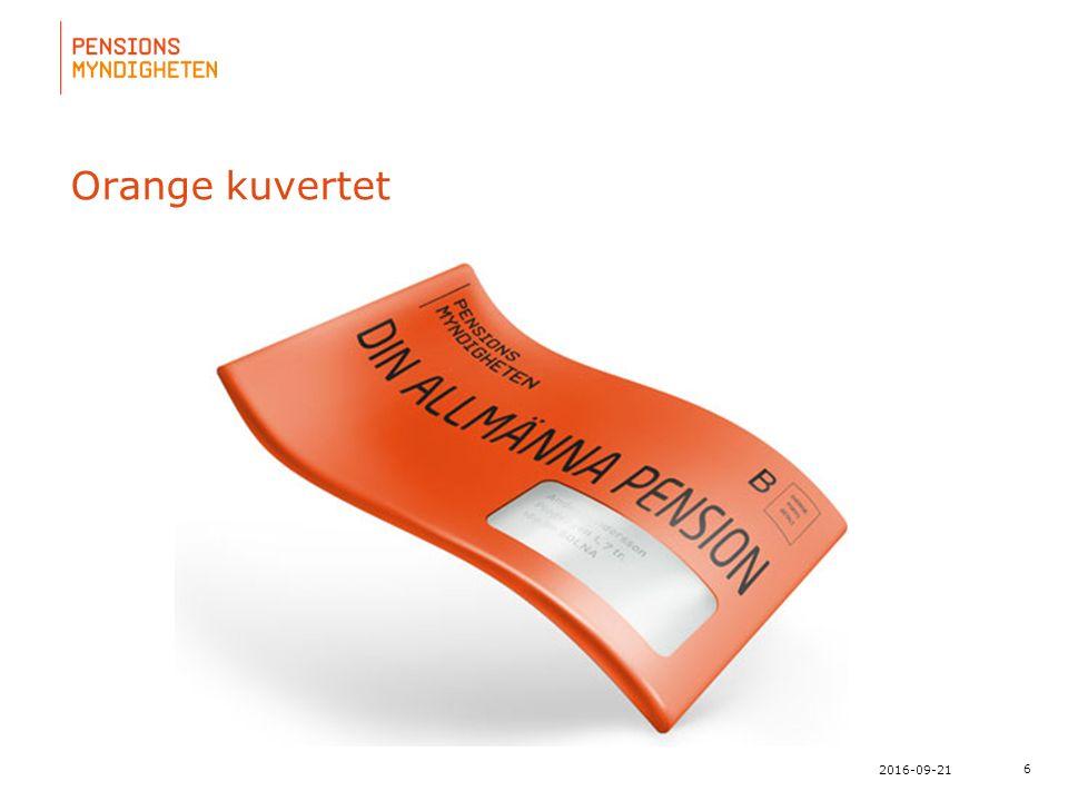 För att uppdatera sidfotstexten, gå till menyn: Visa/Sidhuvud och sidfot... 6 2016-09-21 Orange kuvertet