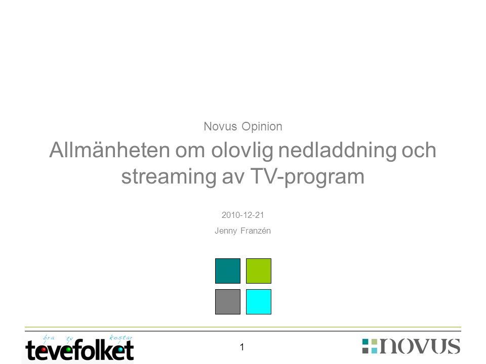 1 Novus Opinion Allmänheten om olovlig nedladdning och streaming av TV-program 2010-12-21 Jenny Franzén