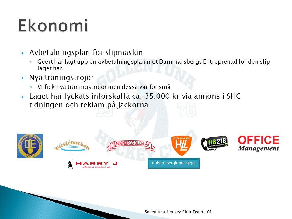  Det finns ett fortsatt behov av pengar ◦ 2 alternativ för att tjäna pengar har inkommit  Ljus och servettförsäljning  Försäljning av toalett-/hushållspapper Sollentuna Hockey Club Team -01