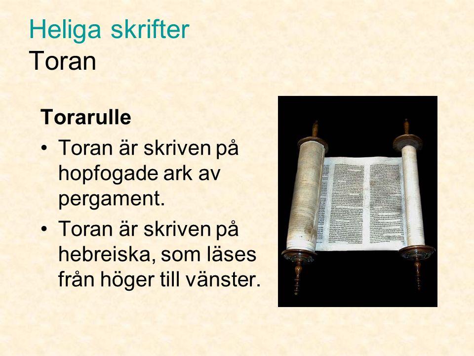 Heliga skrifter Toran Enligt traditionen skall det judiska folket ha fått Toran för mer än 3 000 år sedan efter uttåget ur Egypten.