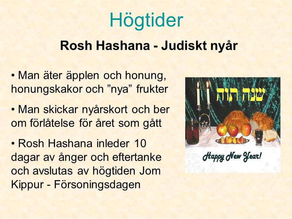 Högtider Firas en till två dagar i september Man blåser i Shófar för andlig väckelse Synagogan är klädd i vitt och en del människor är klädda i vita kläder Rosh Hashana - Judiskt nyår