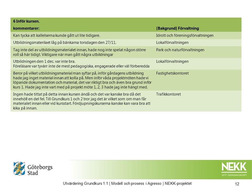 13 Utvärdering Grundkurs 1:1 | Modell och prosess i Agresso | NEKK-projektet