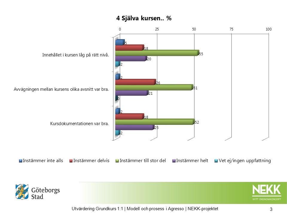 powered by defgo.net | info@defgo.net | www.defgo.net | 8 | 4 Utvärdering Grundkurs 1:1 | Modell och prosess i Agresso | NEKK-projektet