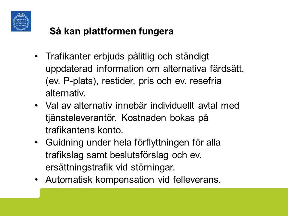 Så kan plattformen fungera Trafikanter erbjuds pålitlig och ständigt uppdaterad information om alternativa färdsätt, (ev.