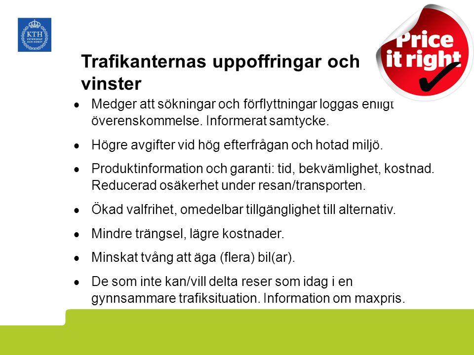Trafikanternas uppoffringar och vinster  Medger att sökningar och förflyttningar loggas enligt överenskommelse.