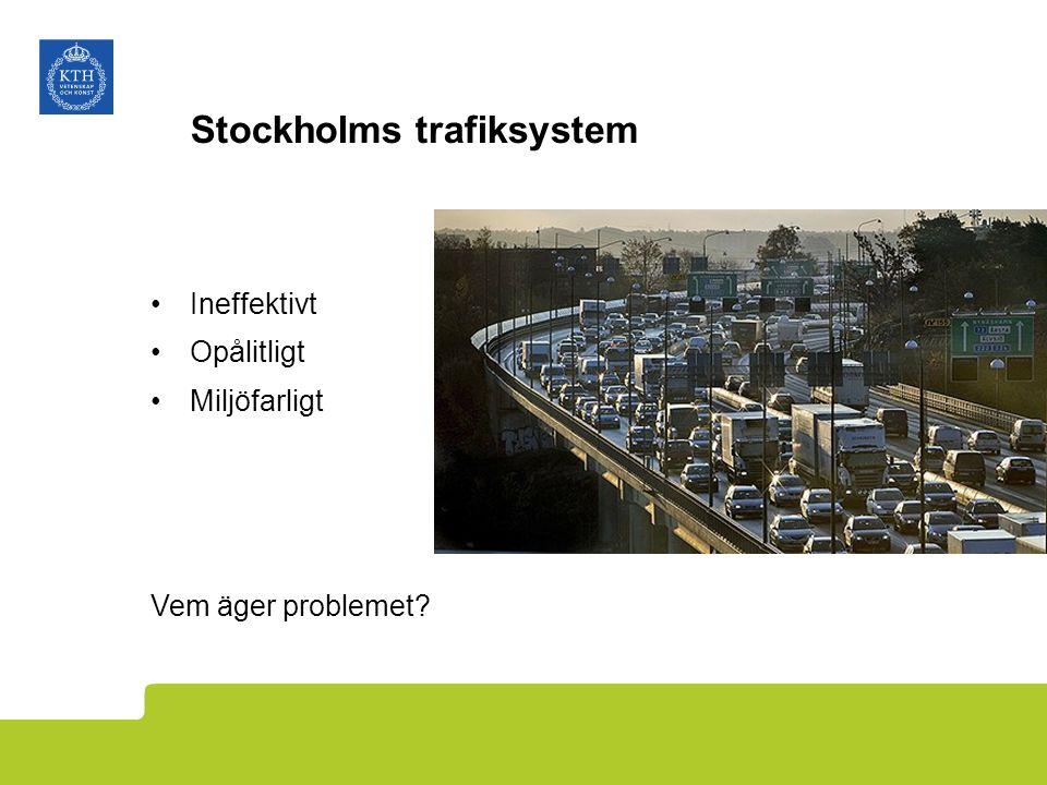 Stockholms trafiksystem Ineffektivt Opålitligt Miljöfarligt Vem äger problemet