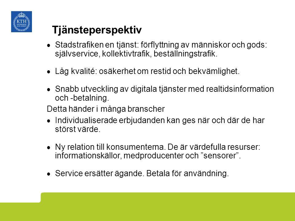 Tjänsteperspektiv  Stadstrafiken en tjänst: förflyttning av människor och gods: självservice, kollektivtrafik, beställningstrafik.