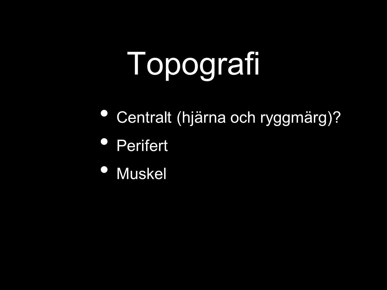 Topografi Centralt (hjärna och ryggmärg)? Perifert Muskel