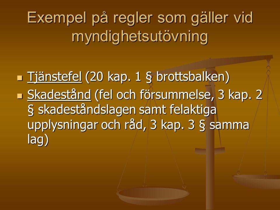 Exempel på regler som gäller vid myndighetsutövning Tjänstefel (20 kap.