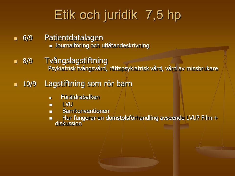 Etik och juridik 7,5 hp 6/9 Patientdatalagen 6/9 Patientdatalagen Journalföring och utlåtandeskrivning Journalföring och utlåtandeskrivning 8/9 Tvångslagstiftning 8/9 Tvångslagstiftning Psykiatrisk tvångsvård, rättspsykiatrisk vård, vård av missbrukare Psykiatrisk tvångsvård, rättspsykiatrisk vård, vård av missbrukare 10/9 Lagstiftning som rör barn 10/9 Lagstiftning som rör barn Föräldrabalken Föräldrabalken LVU LVU Barnkonventionen Barnkonventionen Hur fungerar en domstolsförhandling avseende LVU.