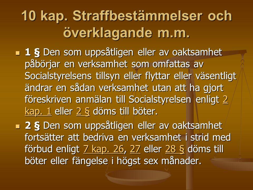 10 kap. Straffbestämmelser och överklagande m.m.