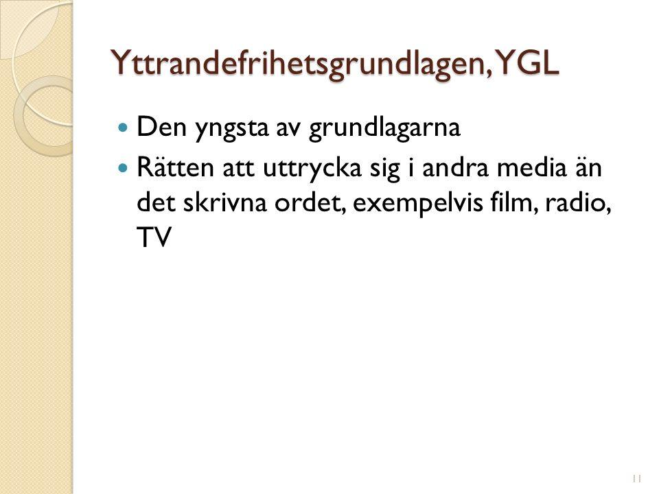 Yttrandefrihetsgrundlagen, YGL Den yngsta av grundlagarna Rätten att uttrycka sig i andra media än det skrivna ordet, exempelvis film, radio, TV 11