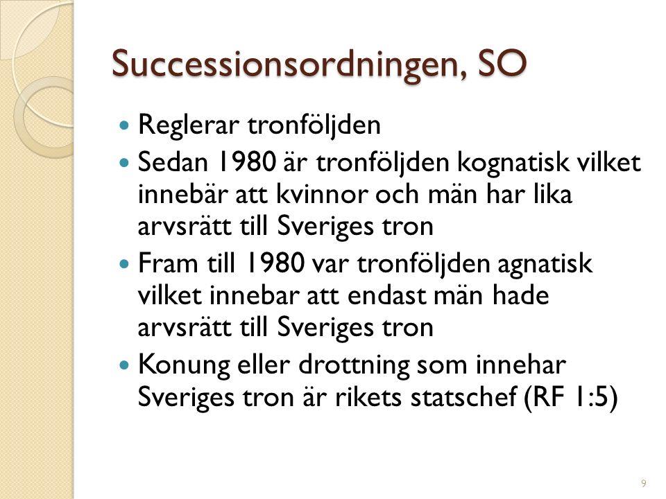 Successionsordningen, SO Reglerar tronföljden Sedan 1980 är tronföljden kognatisk vilket innebär att kvinnor och män har lika arvsrätt till Sveriges t