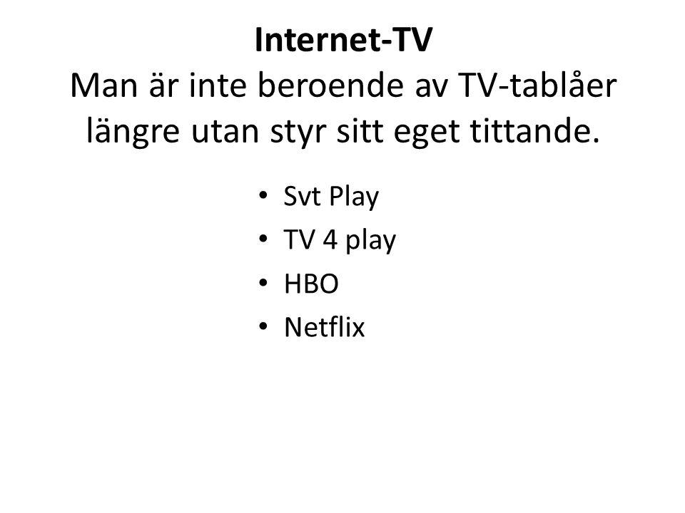 Internet-TV Man är inte beroende av TV-tablåer längre utan styr sitt eget tittande. Svt Play TV 4 play HBO Netflix