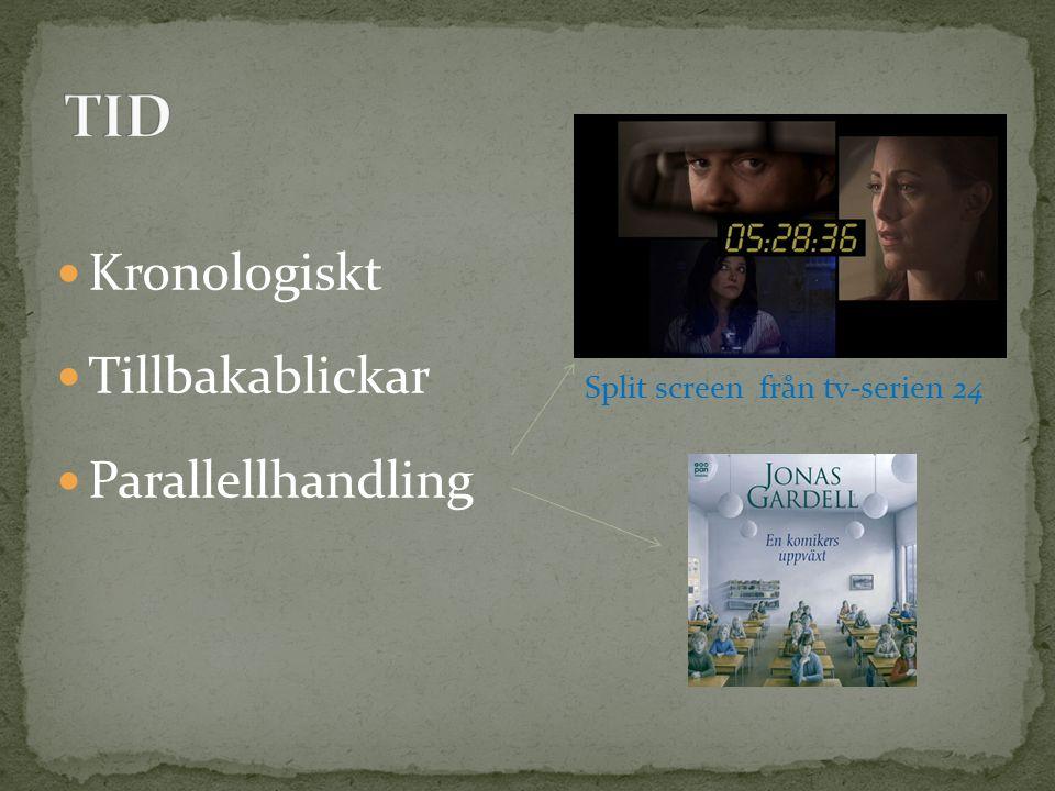 Kronologiskt Tillbakablickar Parallellhandling Split screen från tv-serien 24