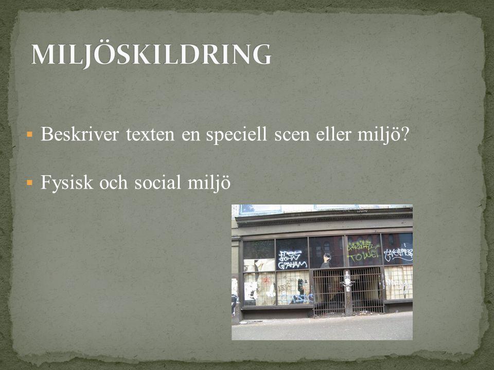  Beskriver texten en speciell scen eller miljö?  Fysisk och social miljö