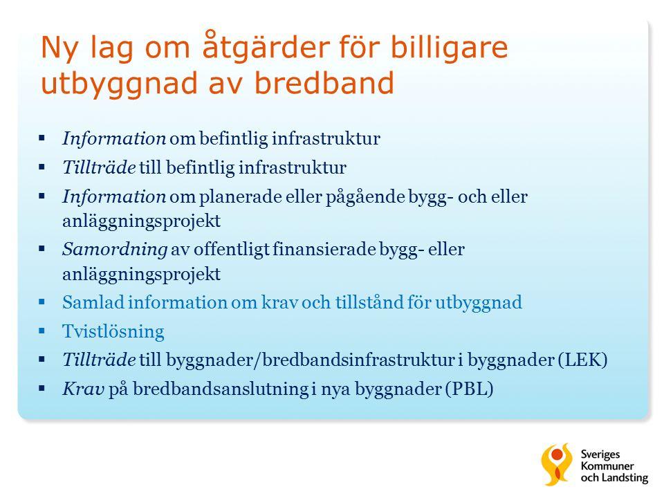 Ny lag om åtgärder för billigare utbyggnad av bredband  Information om befintlig infrastruktur  Tillträde till befintlig infrastruktur  Information