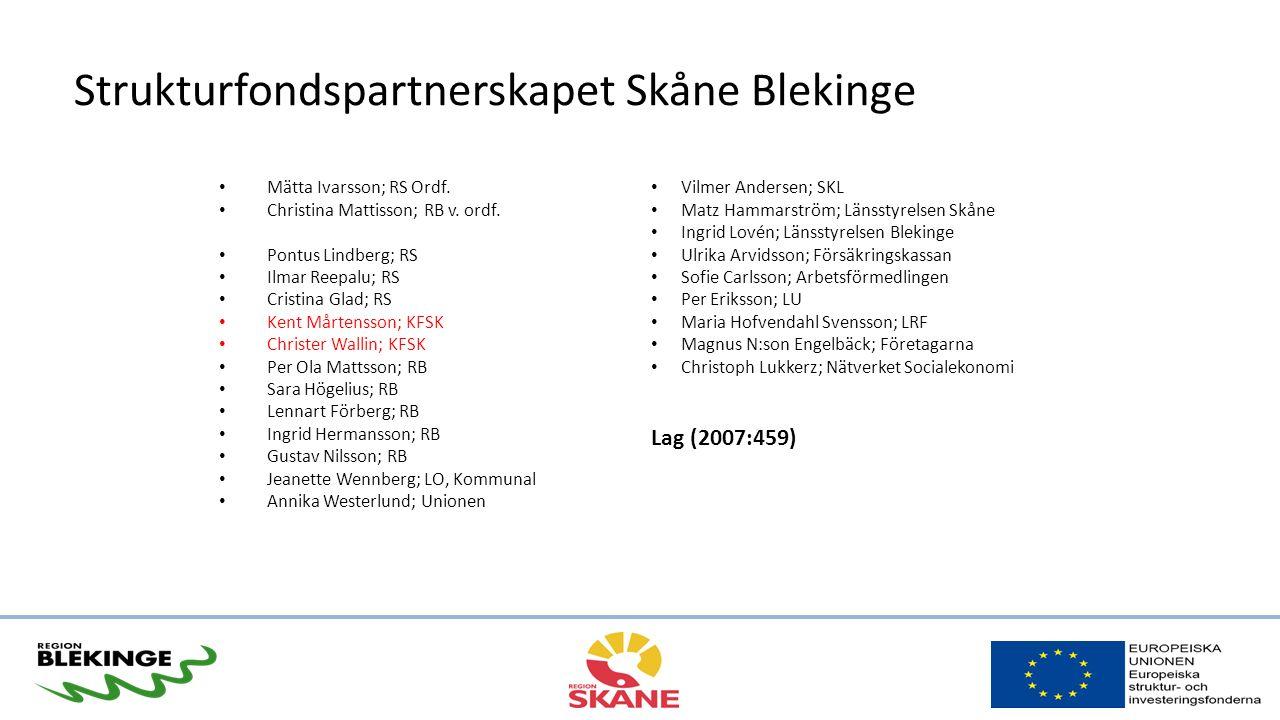Strukturfondspartnerskapet Skåne Blekinge Mätta Ivarsson; RS Ordf.