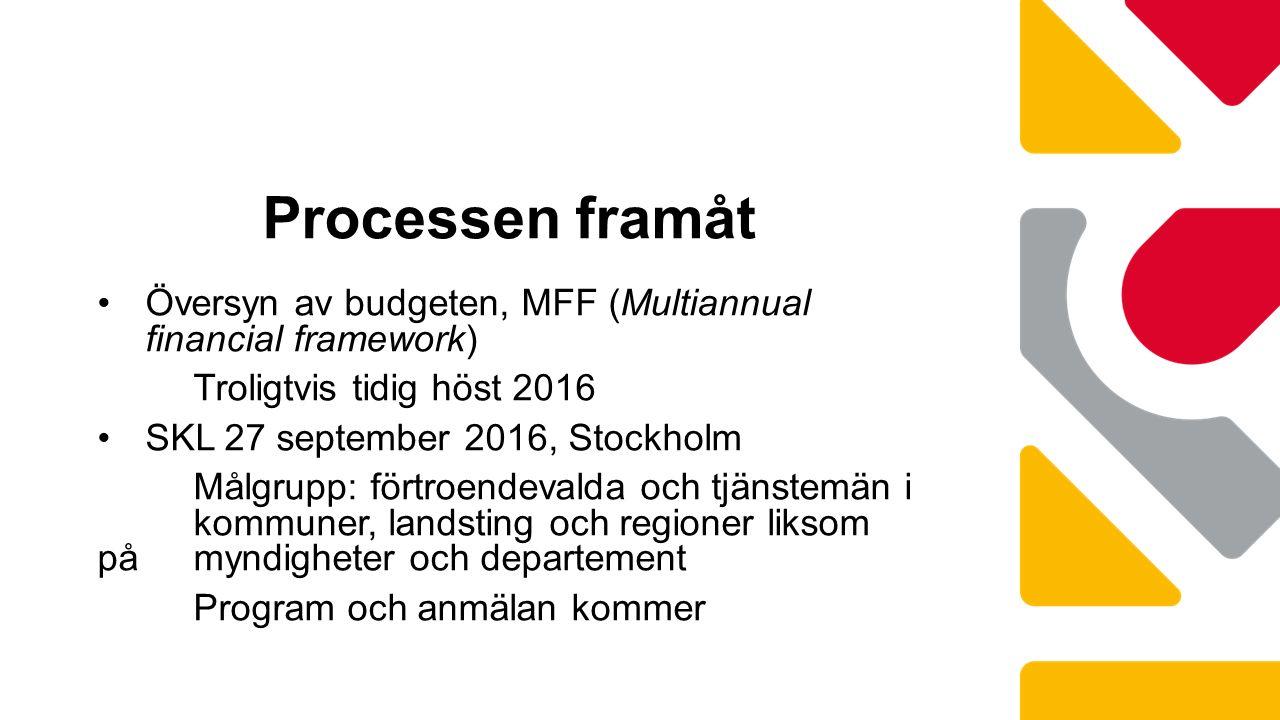 Översyn av budgeten, MFF (Multiannual financial framework) Troligtvis tidig höst 2016 SKL 27 september 2016, Stockholm Målgrupp: förtroendevalda och tjänstemän i kommuner, landsting och regioner liksom på myndigheter och departement Program och anmälan kommer Processen framåt
