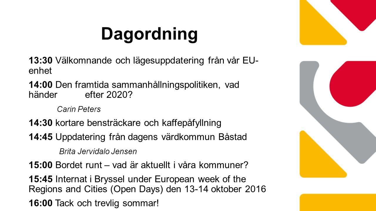 13:30 Välkomnande och lägesuppdatering från vår EU- enhet 14:00 Den framtida sammanhållningspolitiken, vad händer efter 2020.