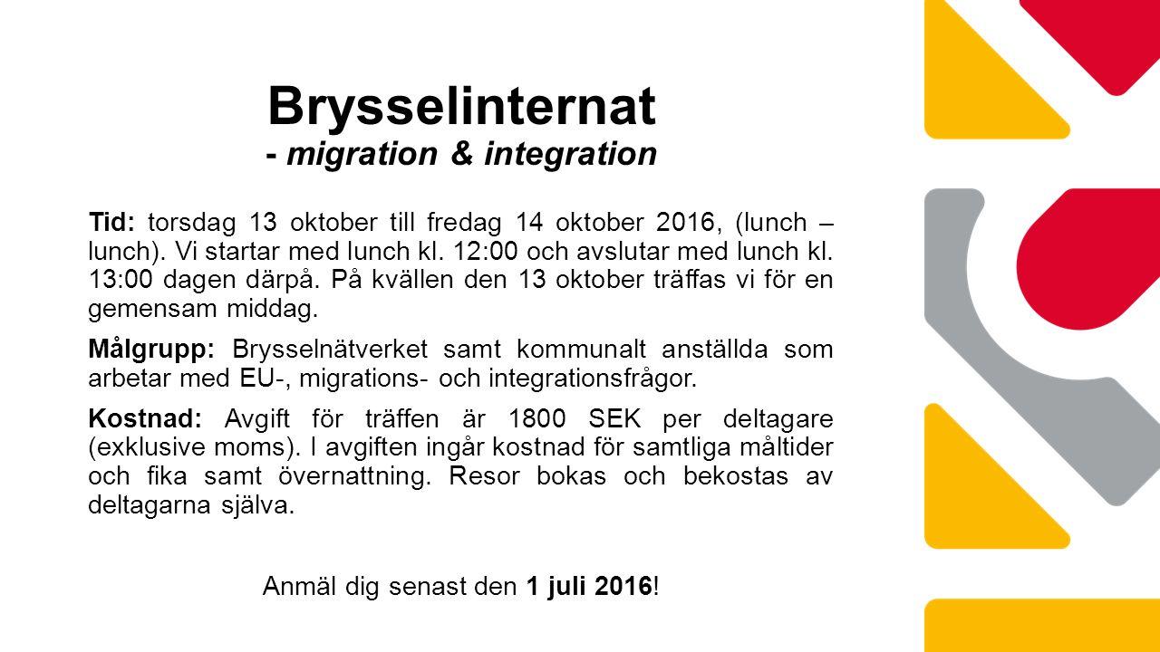 Tid: torsdag 13 oktober till fredag 14 oktober 2016, (lunch – lunch).