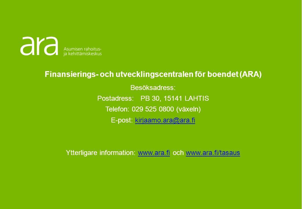 Utjämningsmodell för ARAVA- och räntestödsfinansierade objekt som baserar sig på utgifternas bruksvärde Anvisningar för den allmänna modellen Finansierings- och utvecklingscentralen för boendet (ARA) Besöksadress: Postadress: PB 30, 15141 LAHTIS Telefon: 029 525 0800 (växeln) E-post: kirjaamo.ara@ara.fikirjaamo.ara@ara.fi Ytterligare information: www.ara.fi och www.ara.fi/tasauswww.ara.fiwww.ara.fi/tasaus