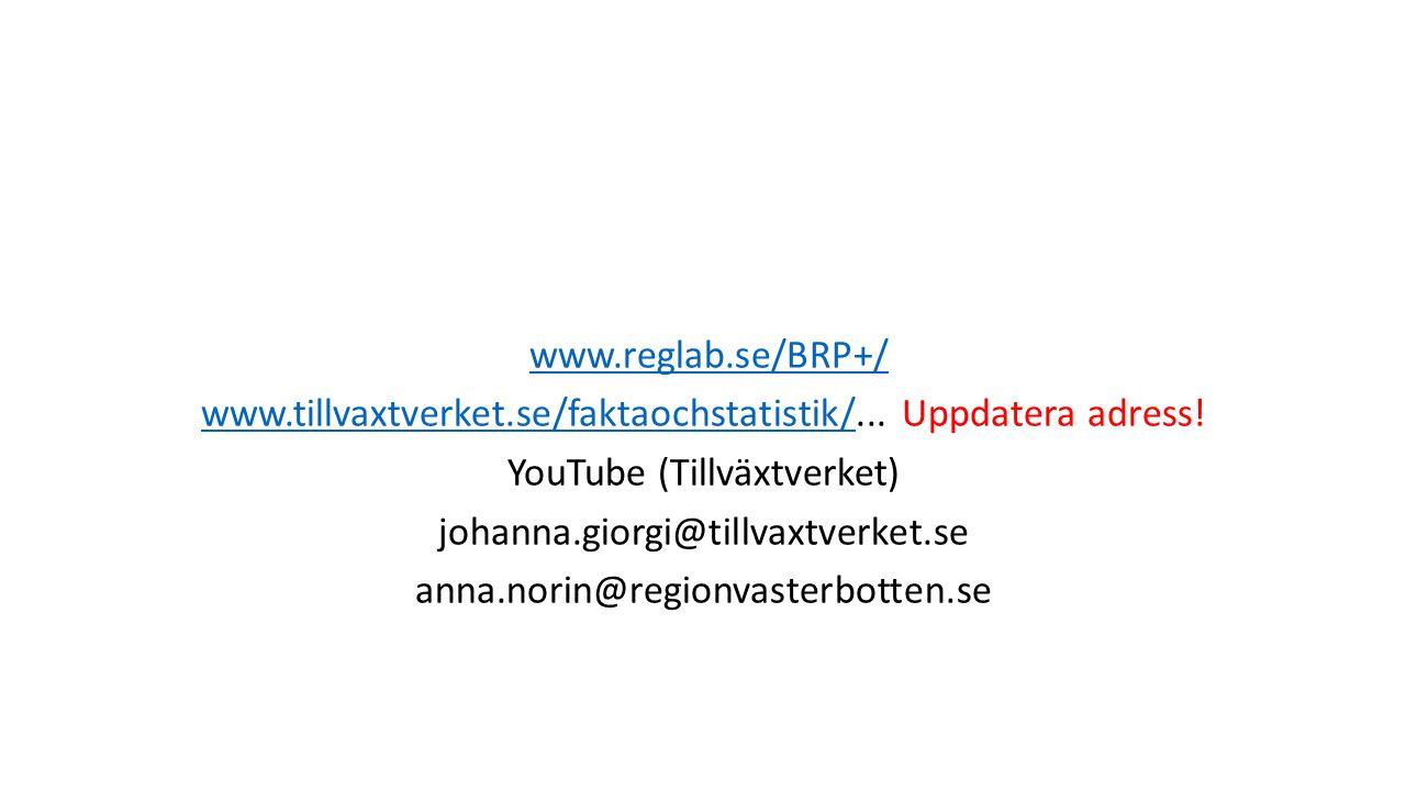 www.reglab.se/BRP+/ www.tillvaxtverket.se/faktaochstatistik/www.tillvaxtverket.se/faktaochstatistik/...