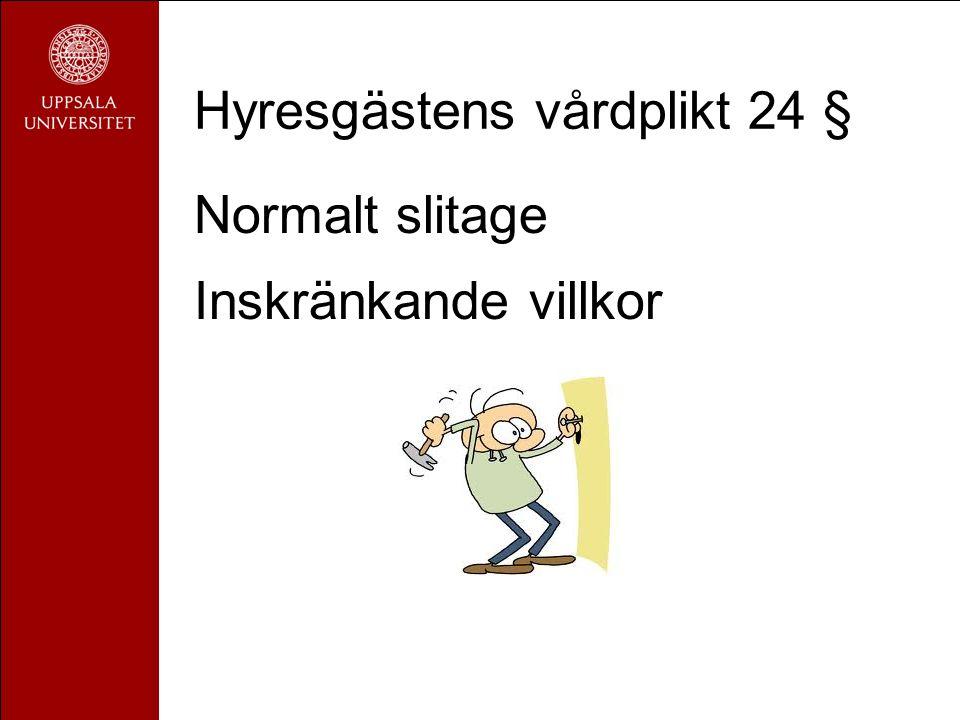 Hyresgästens vårdplikt 24 § Normalt slitage Inskränkande villkor
