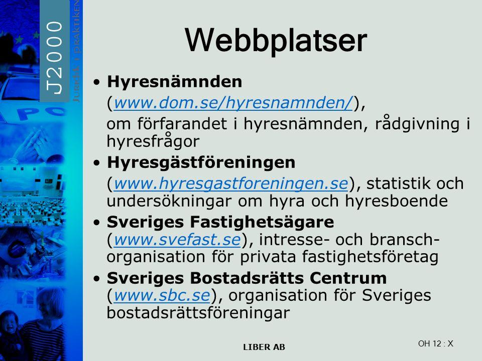 LIBER AB OH 12 Webbplatser Hyresnämnden (www.dom.se/hyresnamnden/),www.dom.se/hyresnamnden/ om förfarandet i hyresnämnden, rådgivning i hyresfrågor Hyresgästföreningen (www.hyresgastforeningen.se), statistik och undersökningar om hyra och hyresboendewww.hyresgastforeningen.se Sveriges Fastighetsägare (www.svefast.se), intresse- och bransch- organisation för privata fastighetsföretagwww.svefast.se Sveriges Bostadsrätts Centrum (www.sbc.se), organisation för Sveriges bostadsrättsföreningarwww.sbc.se : X