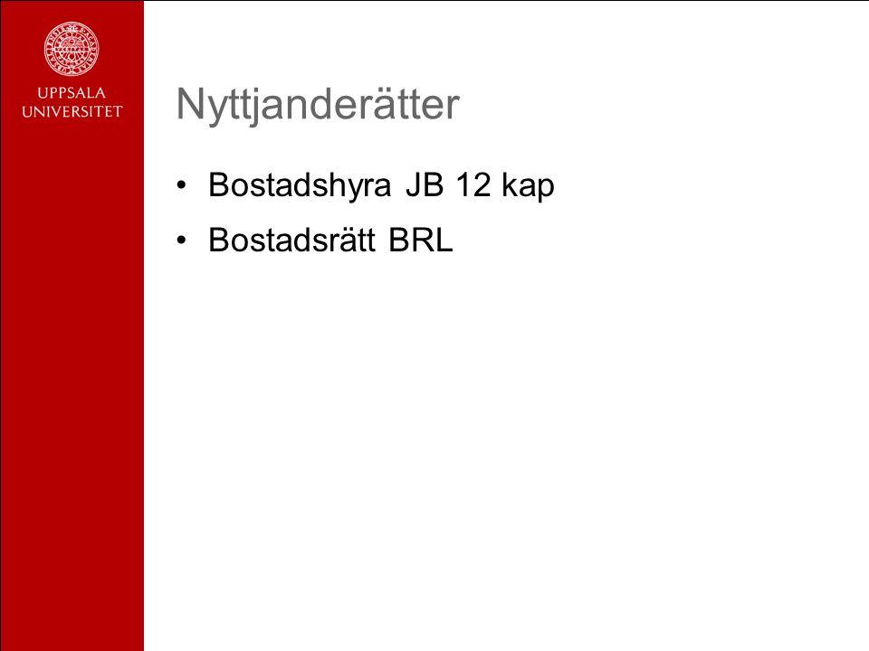 Nyttjanderätter Bostadshyra JB 12 kap Bostadsrätt BRL