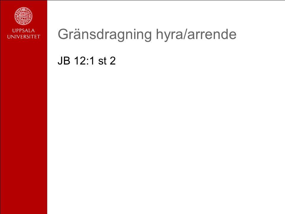 Gränsdragning hyra/arrende JB 12:1 st 2