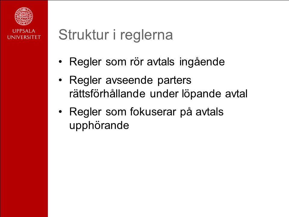 Struktur i reglerna Regler som rör avtals ingående Regler avseende parters rättsförhållande under löpande avtal Regler som fokuserar på avtals upphöra