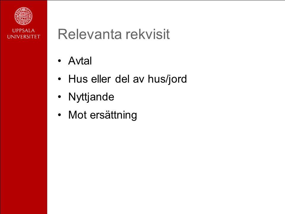Relevanta rekvisit Avtal Hus eller del av hus/jord Nyttjande Mot ersättning