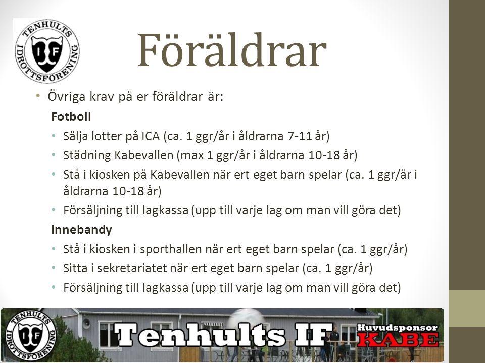 Föräldrar Övriga krav på er föräldrar är: Fotboll Sälja lotter på ICA (ca.