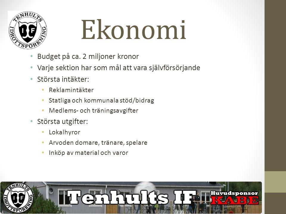 Ekonomi Budget på ca. 2 miljoner kronor Varje sektion har som mål att vara självförsörjande Största intäkter: Reklamintäkter Statliga och kommunala st