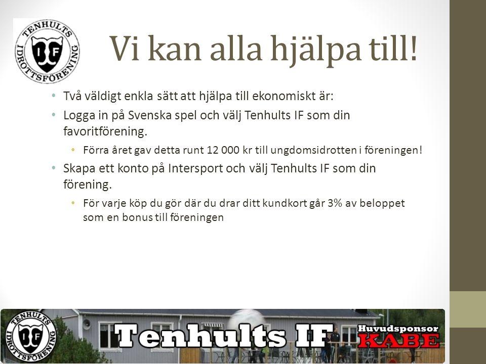 Vi kan alla hjälpa till! Två väldigt enkla sätt att hjälpa till ekonomiskt är: Logga in på Svenska spel och välj Tenhults IF som din favoritförening.