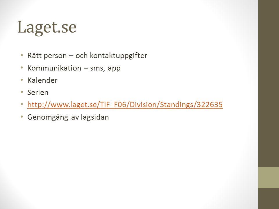 Laget.se Rätt person – och kontaktuppgifter Kommunikation – sms, app Kalender Serien http://www.laget.se/TIF_F06/Division/Standings/322635 Genomgång av lagsidan