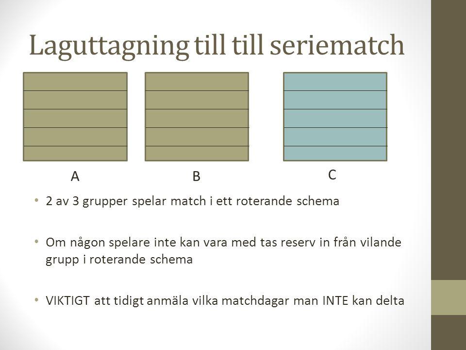 Laguttagning till till seriematch 2 av 3 grupper spelar match i ett roterande schema Om någon spelare inte kan vara med tas reserv in från vilande gru