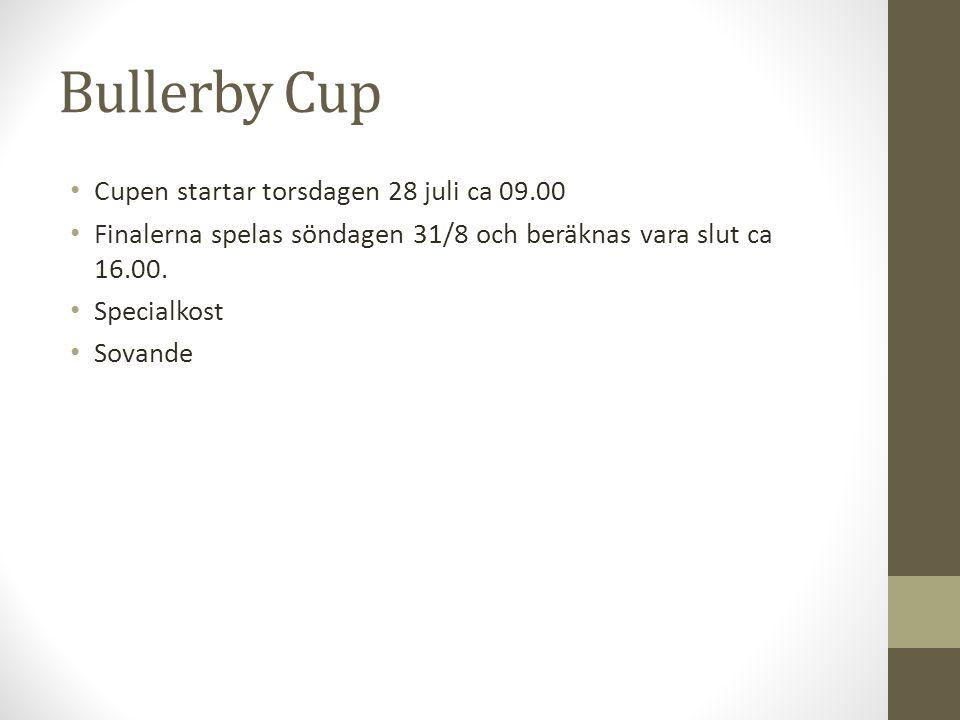 Bullerby Cup Cupen startar torsdagen 28 juli ca 09.00 Finalerna spelas söndagen 31/8 och beräknas vara slut ca 16.00. Specialkost Sovande