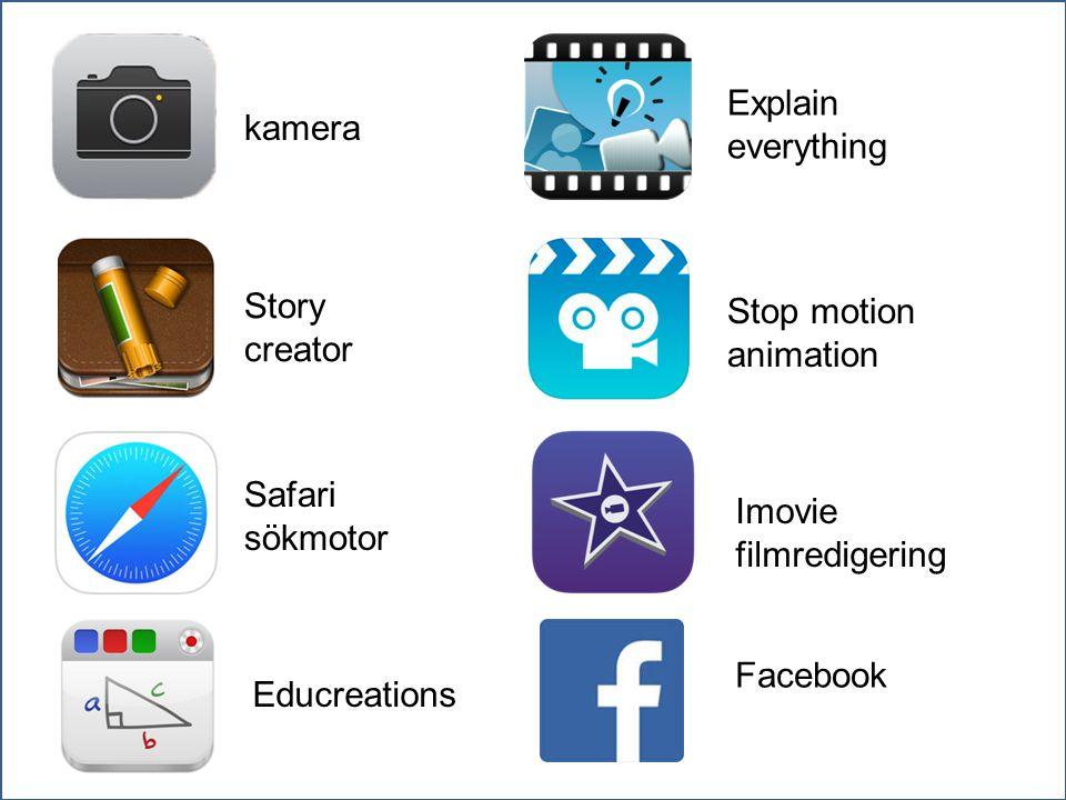 kamera Story creator Safari sökmotor Educreations Explain everything Stop motion animation Imovie filmredigering Facebook