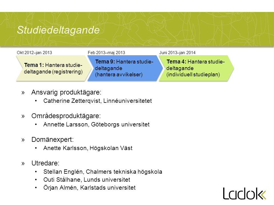 Studiedeltagande »Ansvarig produktägare: Catherine Zetterqvist, Linnéuniversitetet »Områdesproduktägare: Annette Larsson, Göteborgs universitet »Domän