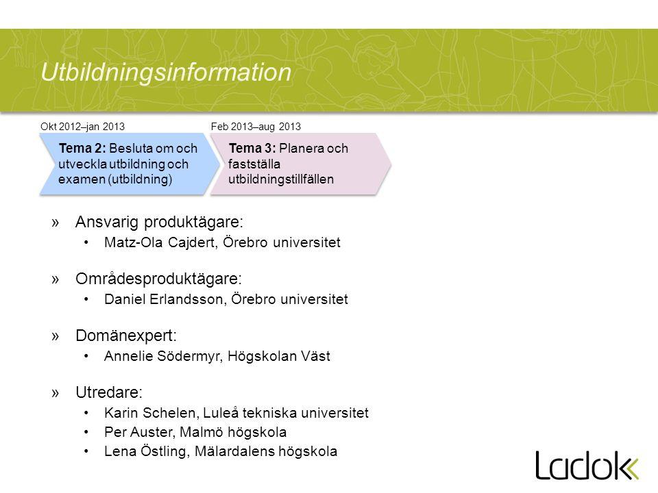 Utbildningsinformation »Ansvarig produktägare: Matz-Ola Cajdert, Örebro universitet »Områdesproduktägare: Daniel Erlandsson, Örebro universitet »Domän
