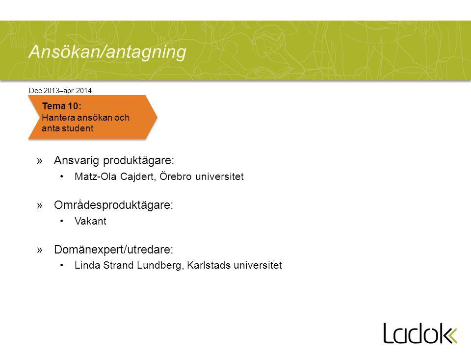 Ansökan/antagning »Ansvarig produktägare: Matz-Ola Cajdert, Örebro universitet »Områdesproduktägare: Vakant »Domänexpert/utredare: Linda Strand Lundbe