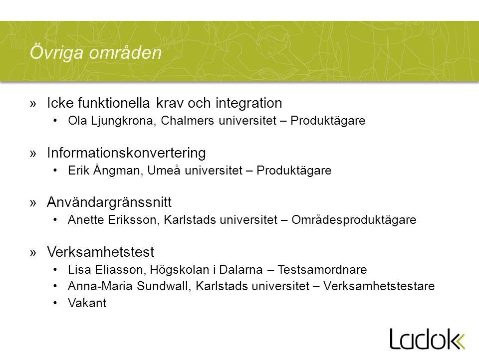 Övriga områden »Icke funktionella krav och integration Ola Ljungkrona, Chalmers universitet – Produktägare »Informationskonvertering Erik Ångman, Umeå
