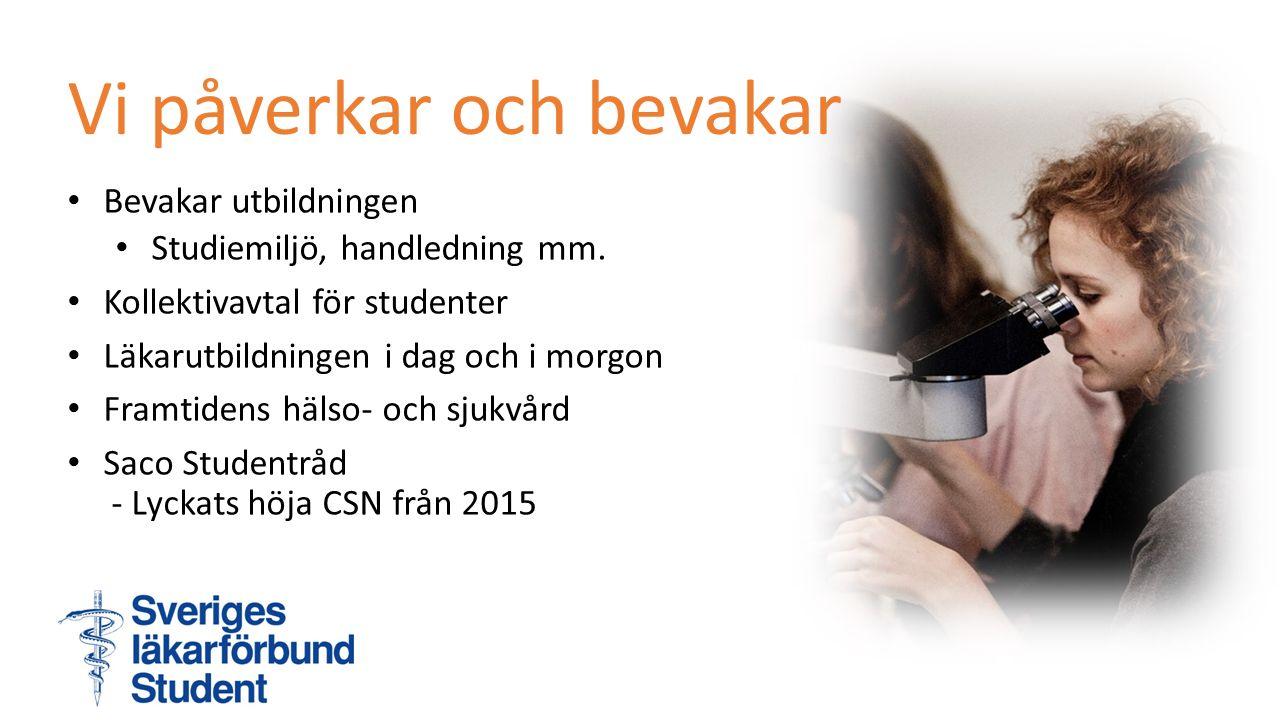 Bevakar utbildningen Studiemiljö, handledning mm. Kollektivavtal för studenter Läkarutbildningen i dag och i morgon Framtidens hälso- och sjukvård Sac