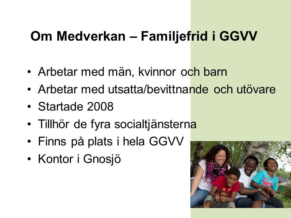 Om Medverkan – Familjefrid i GGVV Arbetar med män, kvinnor och barn Arbetar med utsatta/bevittnande och utövare Startade 2008 Tillhör de fyra socialtjänsterna Finns på plats i hela GGVV Kontor i Gnosjö